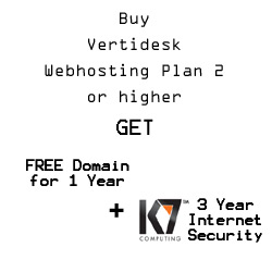 VertiDesk Web Hosting double offer – FREE Domain + 3yr Antivirus Internet Security