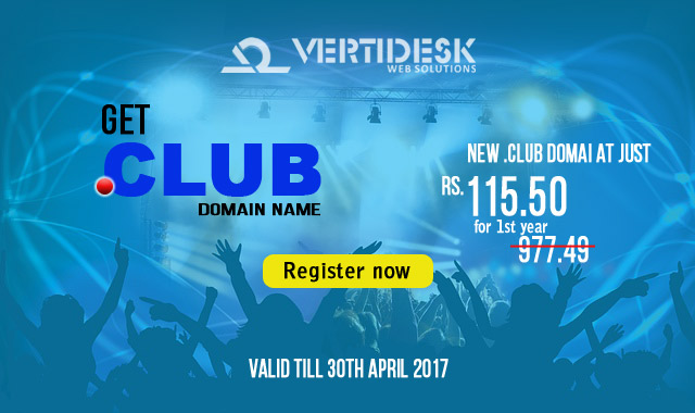 .CLUB domain registration promo @ just Rs. 115.5