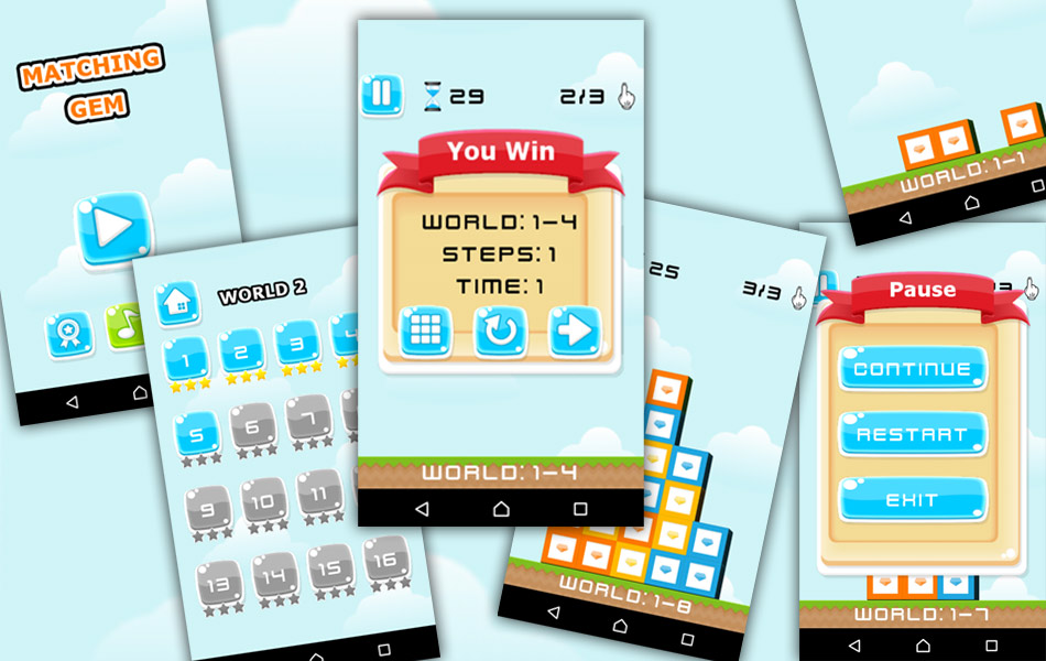 Matching Gem - Puzzle Game App for Android Devices