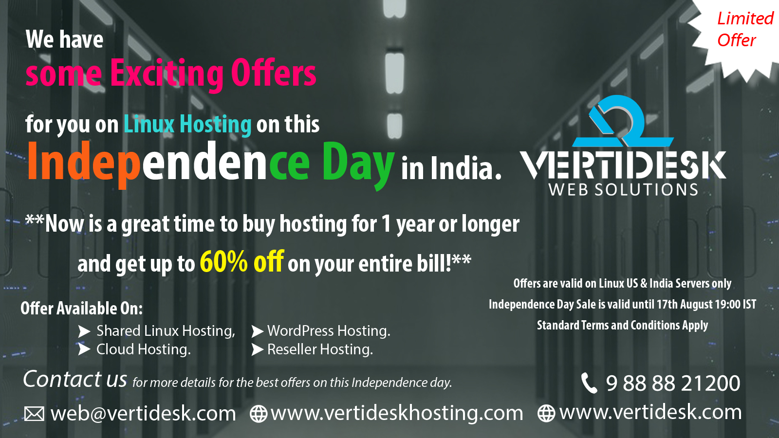 Independence Day offer on Linux Hosting, Banner