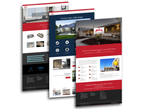 Taj Homes website design, WordPress Divi Theme