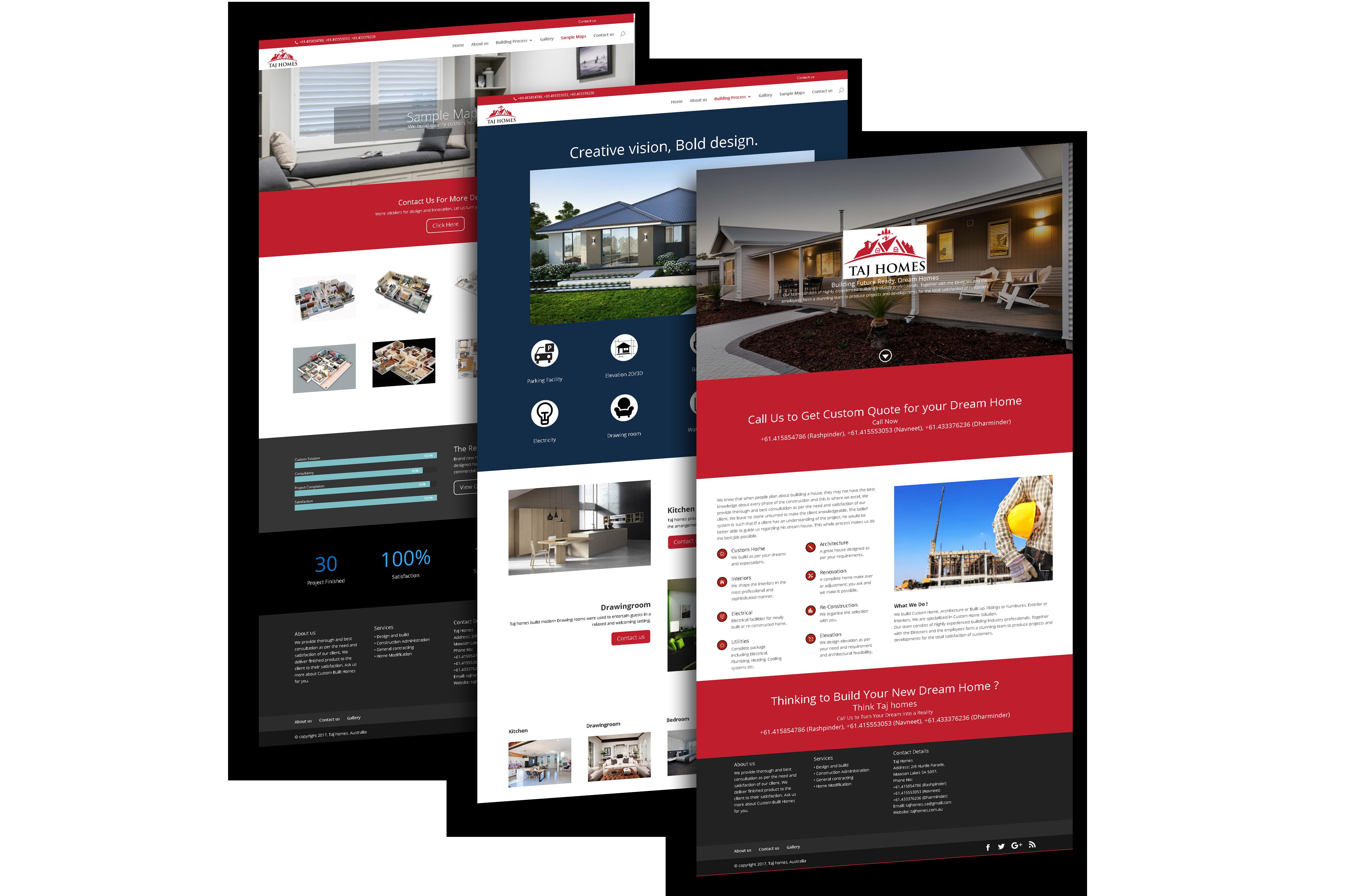 Taj Homes, Australia. Website design in WordPress by VertiDesk